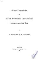 Jahresverzeichnis der an den deutschen Universitäten erschienenen Schriften
