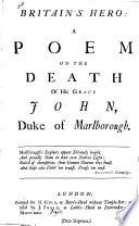 Britain S Hero A Poem On The Death Of His Grace John Duke Of Marlborough