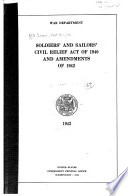 Soldiers  and Sailors  Civil Relief Act of 1940 and Amendments of Book PDF