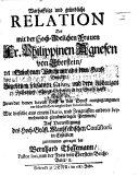 Warhafftige ... Relation des mit der ... Frauen ... P. A. von Eberstein ... begebenen seltsamen Casus, und dero bissherigen Zustandes ... wie dieselbe ... zusammen getragen hat Bernhard [or rather, Leonhardt] Thalemann