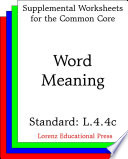 CCSS L 4 4c Word Meaning