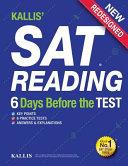 Kallis  SAT Reading   6 Days Before the Test