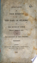 Substance of the Speech of the Earl of Selkirk in the House of Lords ... 1807, on the Defence of the Country