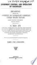 Government Control and Operation of Railroads