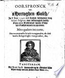 Oorspronck van 'sHertoghen-Bosch, in 't jaer 1540