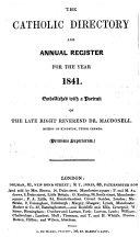 The Catholic Directory, Ecclasiastical Register, and Almanac