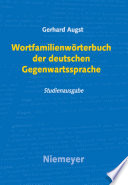 Wortfamilienw Rterbuch Der Deutschen Gegenwartssprache