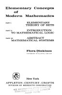 Elementary Concepts of Modern Mathematics  Introduction to mathematical logic