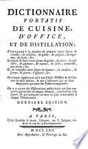 Dictionnaire portatif de cuisine, d'office et de distillation