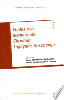 illustration Études à la mémoire de Christian Lapoyade-Deschamps
