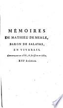 Mémoires de Mathieu de Merle, baron de Salavas, en Vivarais, ... [éd. par Aubais]