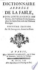 Dictionnaire abbrégé de la fable ... Neuvième édition