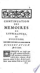 Continuation des Mémoires de littérature et d'histoire de Sallengre