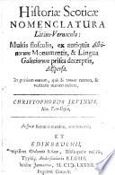 Histori Scotic Nomenclatura Latino Vernacula Multis Flosculis Ex Antiquis Albinorum Monumentis Et Lingua Galeciorum Prisca Decerptis Adspersa Etc Engl