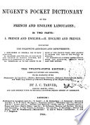 Nugent  s Pocket Dictionary of the French and English Languages in Two Parts  French and English   English and French by J  C  Tarver