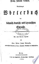 Vollständiges Wörterbuch der böhmisch- deutsch- und lateinischen Sprache