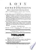Tome Premier, Comprenant les Loix et Constitutions depuis 1550 jusqu'en 1703 inclusivement