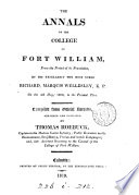 The annals of the college of Fort William. [With] Appendix