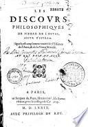 Les Discours philosophiques de Pierre de Lostal     Sonnet de Pallet