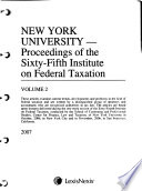 Proceedings of New York University ... Annual Institute on Federal Taxation