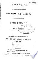 Narrative of the rise and progress of the Mission at Orissa  the site of the temple of Juggurnaut