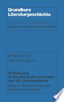 Einführung in die deutsche Literatur des 20. Jahrhunderts