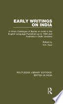 Early Writings On India book