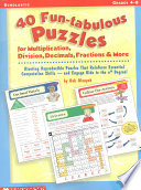 40 Fun Tabulous Puzzles for Multiplication  Division  Decimals  Fractions    More