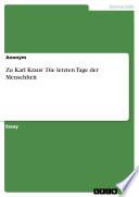 Zu Karl Kraus' Die letzten Tage der Menschheit