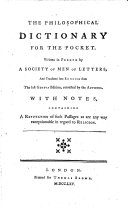 The philosophical dictionary for the pocket