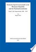 Deutsche Sportwissenschaft in der Weimarer Republik und im Nationalsozialismus  Die Vorgeschichte 1900 1918