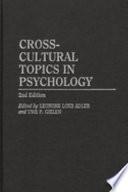 Cross cultural Topics in Psychology
