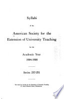 Syllabi for the Academic Year 1904 05 1905 06