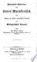 Geographische Beschreibung des Unter-Mainkreises