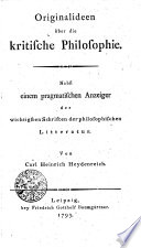 Originalideen über die kritische Philosophie