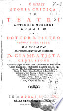 Storia critica de teatri antichi moderni