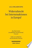 Widerrufsrecht bei Internetauktionen in Europa