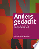 Anders gedacht  Text and Context in the German Speaking World