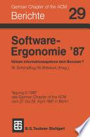Software-Ergonomie '87 Nützen Informationssysteme dem Benutzer?