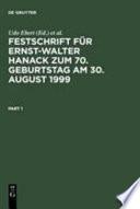 Festschrift für Ernst-Walter Hanack zum 70. Geburtstag am 30. August 1999