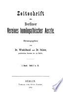 Zeitschrift des Berliner Vereines homoopathischer Aerzte