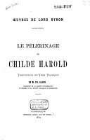 Book Le pèlerinage de Childe Harold