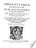 Copiosissima parafrase     nel primo libro della retorica d Aristotele