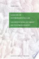 Lexicon Of Environmental Law Les D Finitions Du Droit De L Environnement