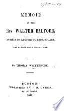 Memoir of the Rev  Walter Balfour