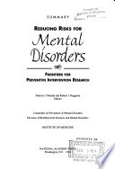 Reducing Risks For Mental Disorders : on successful models for the prevention of cardiovascular...