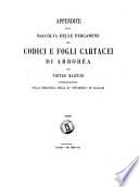 Appendice alla raccolta delle pergamene dei codici e fogli cartacei di Arborea per Pietro Martini