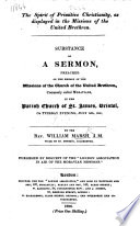 The Spirit of Primitive Christianity, as Displayed in the Missions of the United Brethren. Substance of a Sermon [on Rev. Ii. 3].