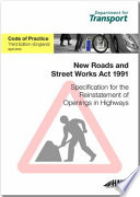 Specification for the Reinstatement of Openings in Highways