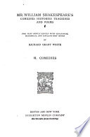 Mr  William Shakespeare s Comedies  Histories  Tragedies and Poems  Comedies